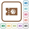 Basketball discount coupon simple icons - Basketball discount coupon simple icons in color rounded square frames on white background