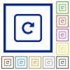Rotate object right flat framed icons - Rotate object right flat color icons in square frames on white background