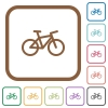 Bicycle simple icons in color rounded square frames on white background
