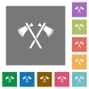 Two tomahawks square flat icons - Two tomahawks flat icons on simple color square backgrounds