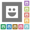 Smiley flat icons on simple color square backgrounds