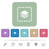 Place layer flat icons on color rounded square backgrounds - Place layer white flat icons on color rounded square backgrounds. 6 bonus icons included