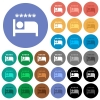 Luxury hotel multi colored flat icons on round backgrounds. Included white, light and dark icon variations for hover and active status effects, and bonus shades. - Luxury hotel round flat multi colored icons