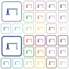 Closed barrier outlined flat color icons - Closed barrier color flat icons in rounded square frames. Thin and thick versions included.