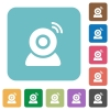 Wireless camera rounded square flat icons - Wireless camera white flat icons on color rounded square backgrounds