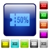 50 percent discount coupon color square buttons - 50 percent discount coupon icons in rounded square color glossy button set