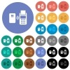 Contactless payment round flat multi colored icons - Contactless payment multi colored flat icons on round backgrounds. Included white, light and dark icon variations for hover and active status effects, and bonus shades.