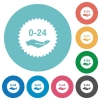 24 hours service sticker flat round icons - 24 hours service sticker flat white icons on round color backgrounds