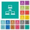Wireless network square flat multi colored icons - Wireless network multi colored flat icons on plain square backgrounds. Included white and darker icon variations for hover or active effects.