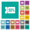 50 percent discount coupon multi colored flat icons on plain square backgrounds. Included white and darker icon variations for hover or active effects.