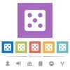Dice five flat white icons in square backgrounds - Dice five flat white icons in square backgrounds. 6 bonus icons included.