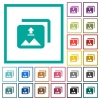 Upload multiple images flat color icons with quadrant frames - Upload multiple images flat color icons with quadrant frames on white background