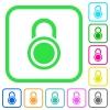 Locked round padlock vivid colored flat icons - Locked round padlock vivid colored flat icons in curved borders on white background