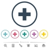 Add new item flat color icons in round outlines. 6 bonus icons included. - Add new item flat color icons in round outlines