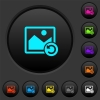 Image rotate left dark push buttons with vivid color icons on dark grey background - Image rotate left dark push buttons with color icons