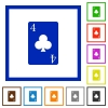 four of clubs card flat framed icons - four of clubs card flat color icons in square frames on white background