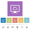Cloud computing flat white icons in square backgrounds. 6 bonus icons included. - Cloud computing flat white icons in square backgrounds