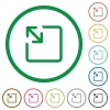 Resize object flat icons with outlines - Resize object flat color icons in round outlines on white background
