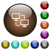 Data syncronization color glass buttons - Data syncronization white icons on round color glass buttons