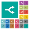 Split arrows square flat multi colored icons - Split arrows multi colored flat icons on plain square backgrounds. Included white and darker icon variations for hover or active effects.