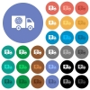 Pizza delivery truck round flat multi colored icons - Pizza delivery truck multi colored flat icons on round backgrounds. Included white, light and dark icon variations for hover and active status effects, and bonus shades.