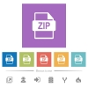 ZIP file format flat white icons in square backgrounds - ZIP file format flat white icons in square backgrounds. 6 bonus icons included.