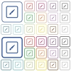 Paint object outlined flat color icons - Paint object color flat icons in rounded square frames. Thin and thick versions included.