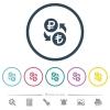 Ruble Lira money exchange flat color icons in round outlines - Ruble Lira money exchange flat color icons in round outlines. 6 bonus icons included.
