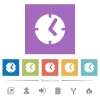 Clock flat white icons in square backgrounds - Clock flat white icons in square backgrounds. 6 bonus icons included.