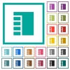 Vertical tabbed layout active flat color icons with quadrant frames on white background - Vertical tabbed layout active flat color icons with quadrant frames