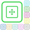 Drag object vivid colored flat icons - Drag object vivid colored flat icons in curved borders on white background