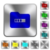 Processing folder rounded square steel buttons - Processing folder engraved icons on rounded square glossy steel buttons