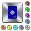 Ten of spades card rounded square steel buttons - Ten of spades card engraved icons on rounded square glossy steel buttons