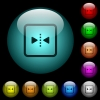 Mirror object around vertical axis icons in color illuminated glass buttons - Mirror object around vertical axis icons in color illuminated spherical glass buttons on black background. Can be used to black or dark templates