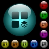 Multiple components icons in color illuminated glass buttons - Multiple components icons in color illuminated spherical glass buttons on black background. Can be used to black or dark templates