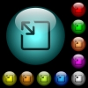 Resize object icons in color illuminated glass buttons - Resize object icons in color illuminated spherical glass buttons on black background. Can be used to black or dark templates