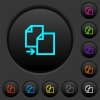 Copy item dark push buttons with color icons - Copy item dark push buttons with vivid color icons on dark grey background