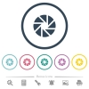 Aperture flat color icons in round outlines - Aperture flat color icons in round outlines. 6 bonus icons included.