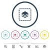 Place layer flat color icons in round outlines - Place layer flat color icons in round outlines. 6 bonus icons included.