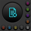 Cancel document dark push buttons with color icons - Cancel document dark push buttons with vivid color icons on dark grey background