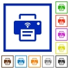 Wireless printer flat framed icons - Wireless printer flat color icons in square frames on white background