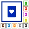 Heart card symbol flat framed icons - Heart card symbol flat color icons in square frames on white background
