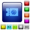 Basketball discount coupon color square buttons - Basketball discount coupon icons in rounded square color glossy button set