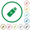 Wireless usb stick flat icons with outlines - Wireless usb stick flat color icons in round outlines on white background