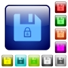 Lock file color square buttons - Lock file icons in rounded square color glossy button set