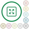 Enlarge object flat icons with outlines - Enlarge object flat color icons in round outlines on white background