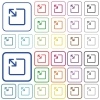 Resize object outlined flat color icons - Resize object color flat icons in rounded square frames. Thin and thick versions included.