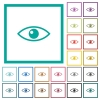 Eye flat color icons with quadrant frames on white background - Eye flat color icons with quadrant frames