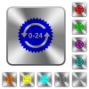 24 hours sticker with arrows rounded square steel buttons - 24 hours sticker with arrows engraved icons on rounded square glossy steel buttons
