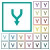 Merge arrows down flat color icons with quadrant frames - Merge arrows down flat color icons with quadrant frames on white background